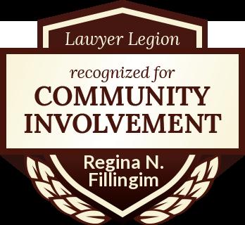 Regina N. Fillingim has earned recognition for community involvement by Lawyer Legion