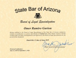 Criminal Law Specialist Certification by State Bar of Arizona
