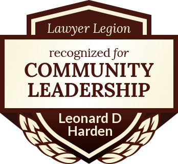 Leonard D Harden has earned recognition for community leadership by Lawyer Legion
