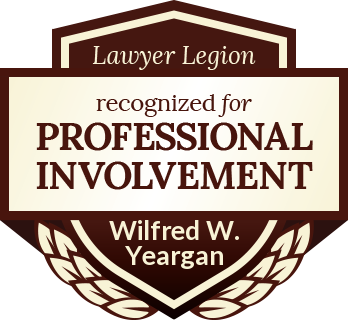 Wilfred W. Yeargan has earned recognition for professional involvement by Lawyer Legion