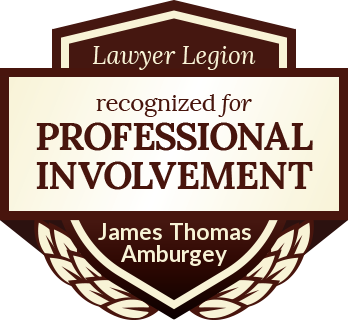 James Thomas Amburgey has earned recognition for professional involvement by Lawyer Legion