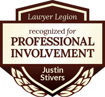 Justin Stivers has earned recognition for professional involvement by Lawyer Legion