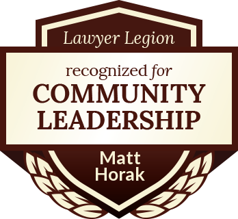 Matt Horak has earned recognition for community leadership by Lawyer Legion