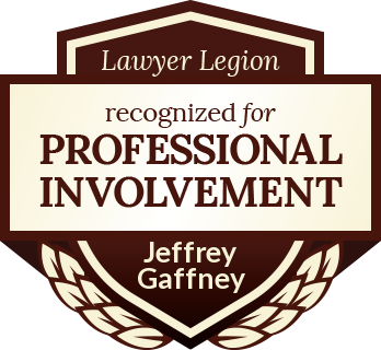 Jeffrey Louis Gaffney has earned recognition for professional involvement by Lawyer Legion