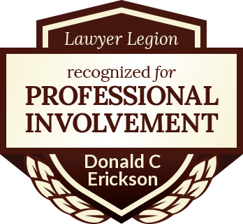 Donald C Erickson has earned recognition for professional involvement by Lawyer Legion
